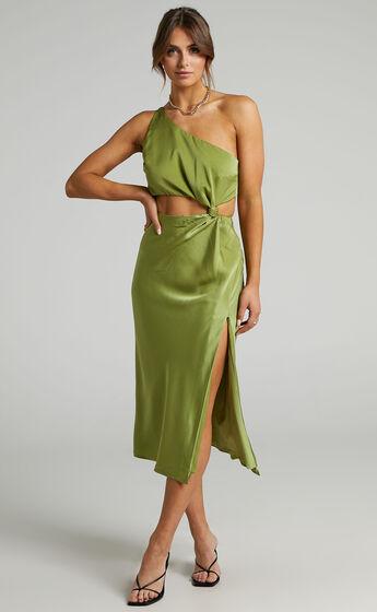 Kaniva One Shoulder Open Back Midi Dress in Olive