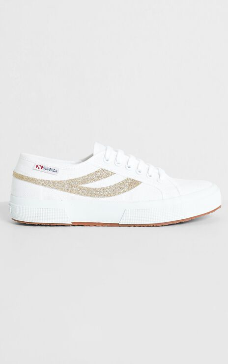 Superga - 2750 Swallowtail Micro Glitter Sneaker in White and Yellow Gold