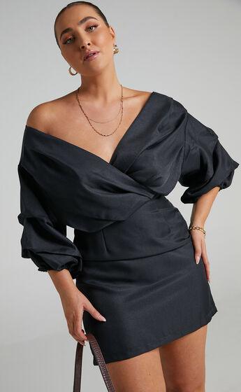 Anastasija Off Shoulder Mini Dress in Black