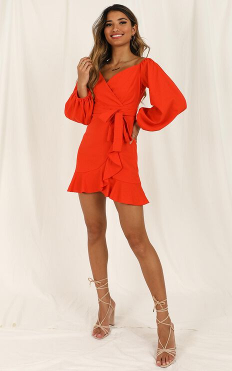 Cant Move On Dress In Tangerine Linen Look