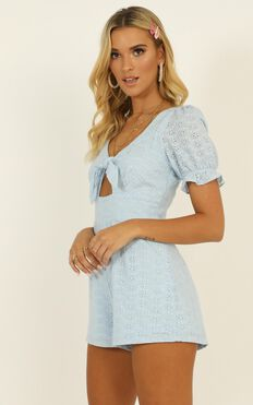 One More Time Playsuit In Dusty Blue Embroidery