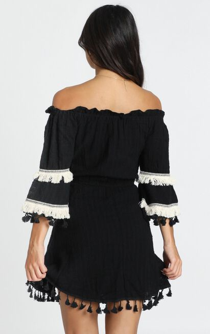 Gianna Trim Detail Bardot Dress in black - 6 (XS), Black, hi-res image number null