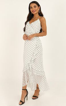 Came To Find You Dress In White Polka Dot