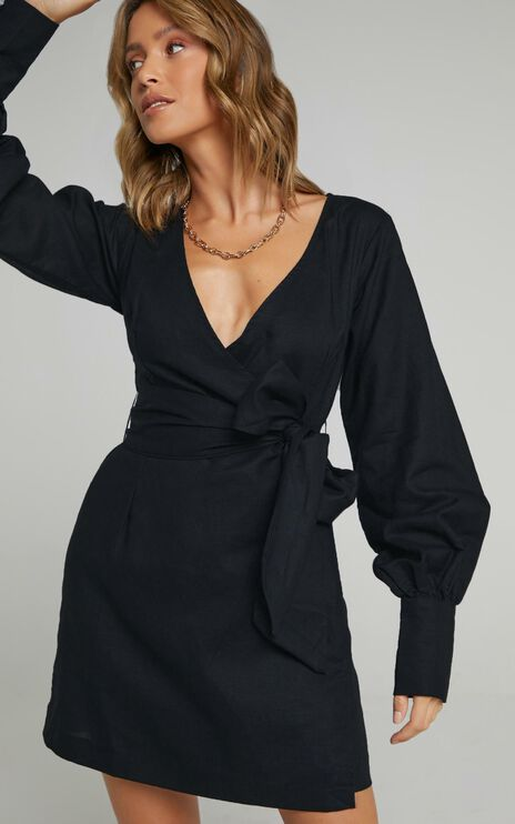 Charlie Holiday - Bella Wrap Dress in Black