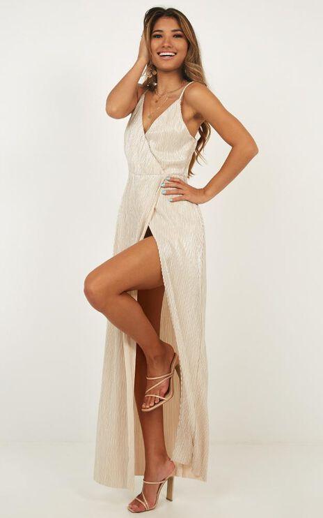 Afterglow Dress In Nude Metallic