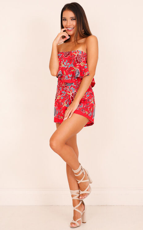Cool Breeze Playsuit In Red Floral