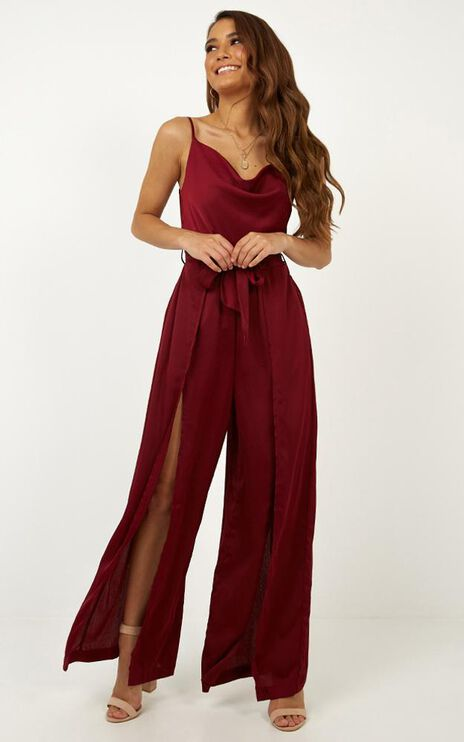 Travel Abroad Jumpsuit In Wine Satin