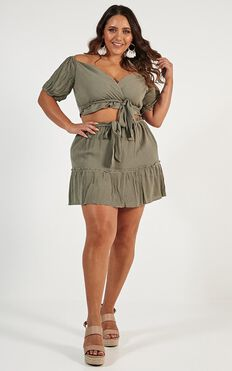 I Want You Back Two Piece Set In Khaki
