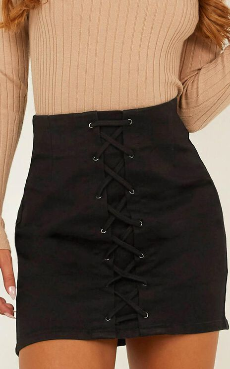 Midnight Plans Denim Skirt in Black