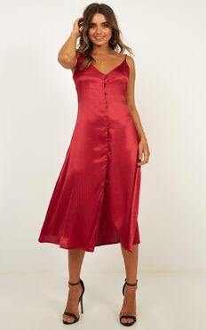 Amour Dress In Burgundy Satin