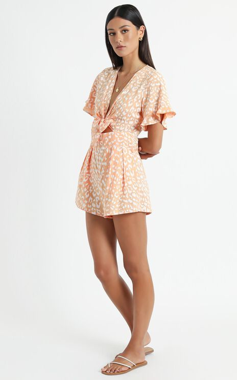 Mori Playsuit in Peach Leopard Print