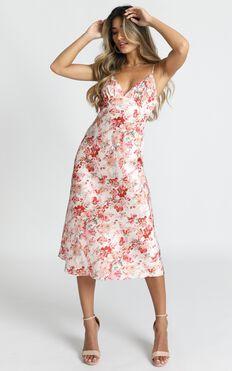 Diane Midi Dress In Red Floral Satin