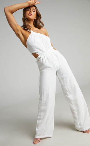 Malia One Shoulder Cut Out Jumpsuit in White