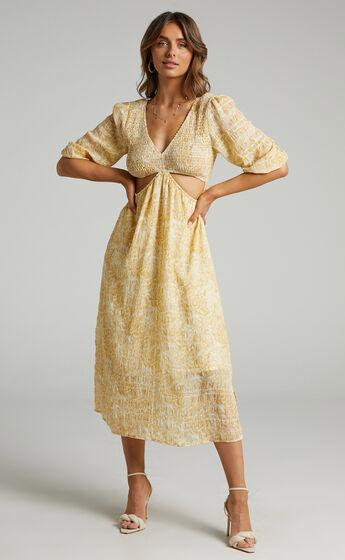 Abigail Midi Dress in Yellow Floral