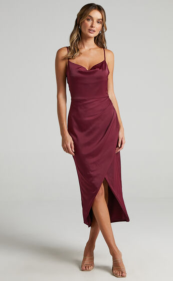 Dazzling Lights Dress in Mulberry Satin