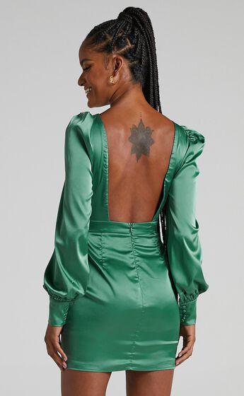 Rivka Dress in Jade Satin