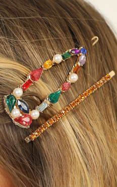 Festival Lights Jewel Hair Clip Pack In Multi