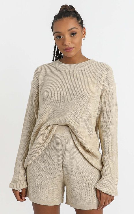 Jacquelyn Knit Jumper in Beige