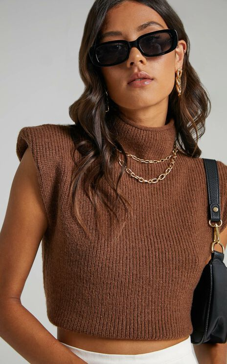 Crawford Knit Vest in Chocolate