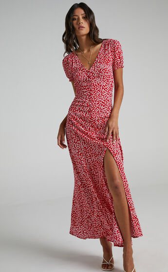 Flaming Hot Maxi Dress in Red Floral
