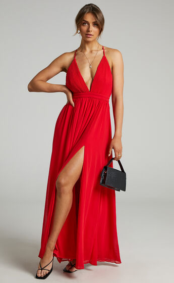 Shes A Delight Maxi Dress in Red