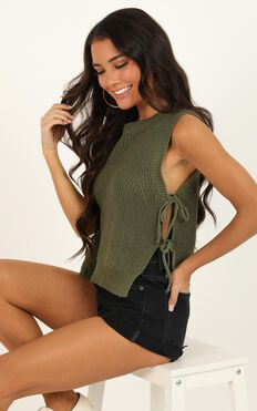 Golden Explorer Knit Top In Khaki