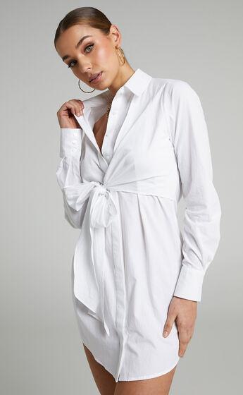 Eugene Collared Shirt Dress in White