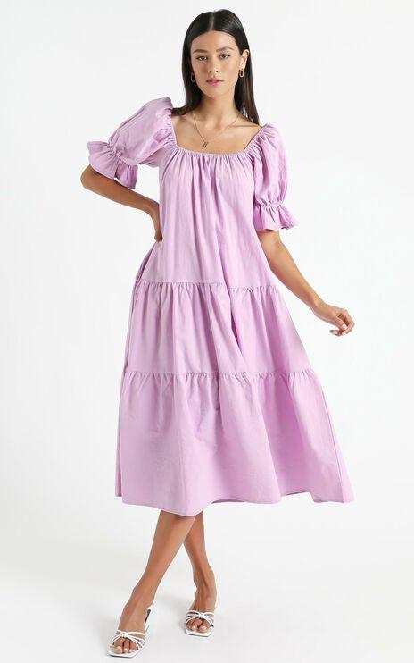 Zaharrah Dress in Lilac Linen Look