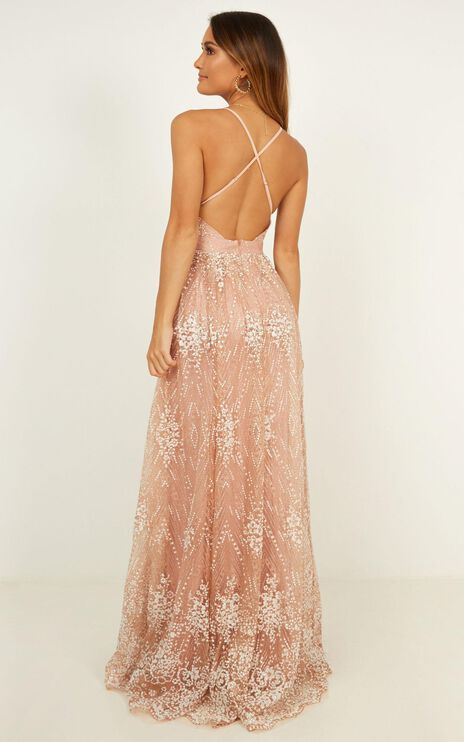 Her Crystal Eyes Maxi Dress In Rose Gold Glitter