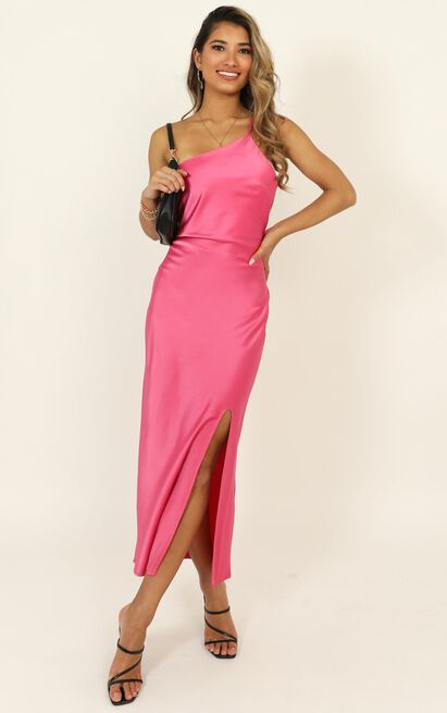 Look Me Up dress in hot pink satin - 16 (XXL), Pink, hi-res image number null