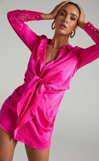 Runaway The Label - Ruby Shirt Dress in Fuschia