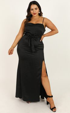 Looking Lush Dress In Black Satin