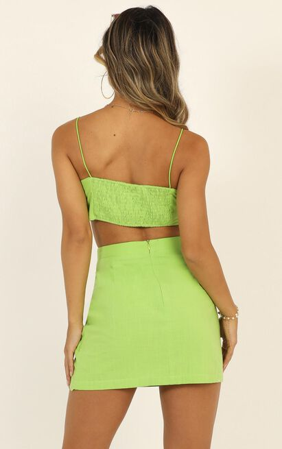 Keep On Turning Two Piece Set in lime green linen look - 20 (XXXXL), Green, hi-res image number null
