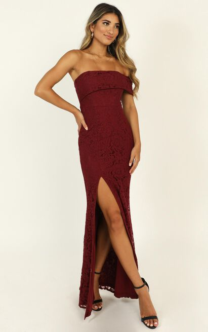 Just Hold On Dress in wine lace - 14 (XL), Wine, hi-res image number null