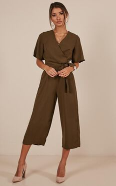 Writers Retreat Jumpsuit In Khaki