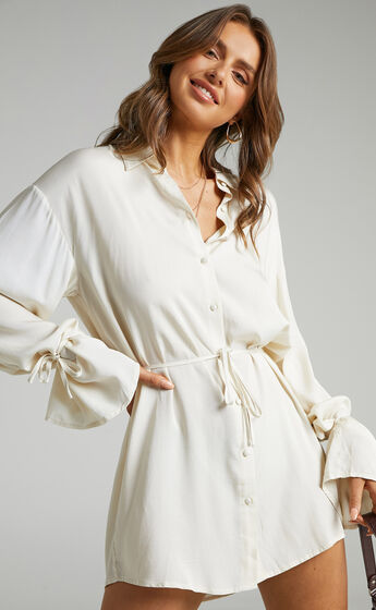 Wynter Waist Tie Shirt Dress in Off White