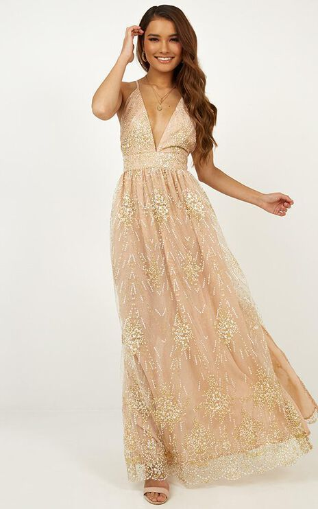 Body Count Maxi Dress In Gold Glitter