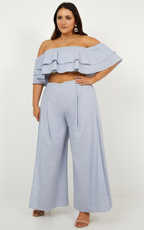 Here With Me Two Piece Set In Baby Blue Linen Look