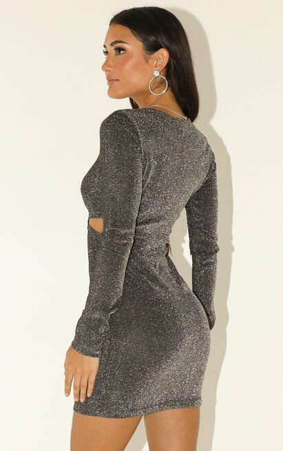 Paint Me Metallic dress in silver lurex - 12 (L), Silver, hi-res image number null