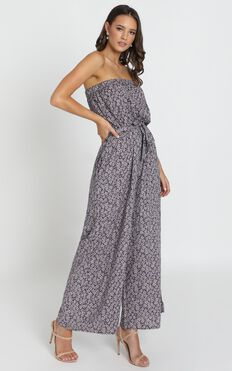 Eloise Strapless Jumpsuit In Navy Floral
