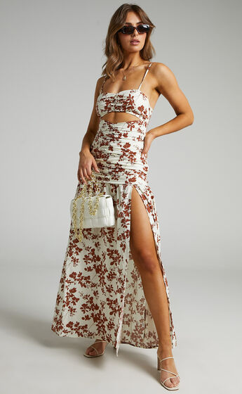 Mikaela Ruched Front Underbust Cut Out Maxi Dress in Shadow Floral