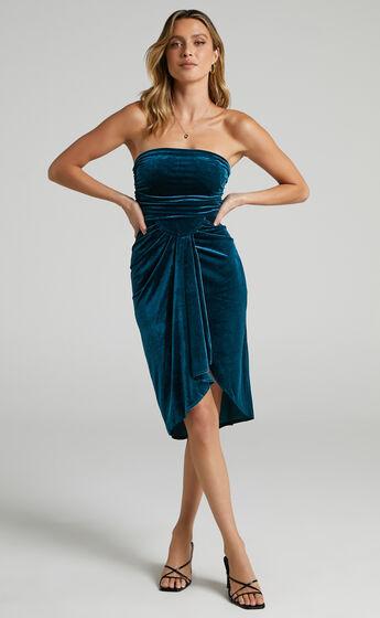 Jolanda Velvet Drape Front Bandeau Midi Dress in Petrol