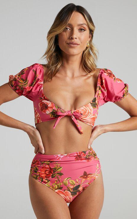 Vesta Bikini Bottoms in Bright Pink Floral
