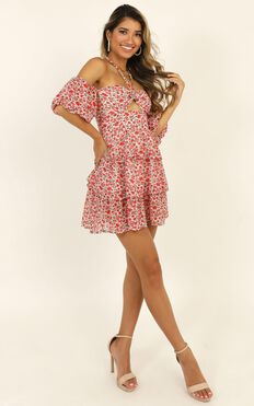 Call On Me Dress In Red Floral