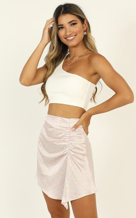 Look Back Skirt In Pink Floral