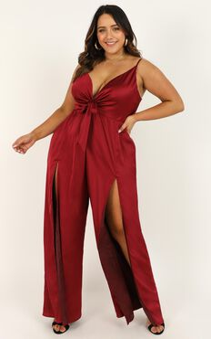 I Be On The Movie Screens Jumpsuit In Wine Satin