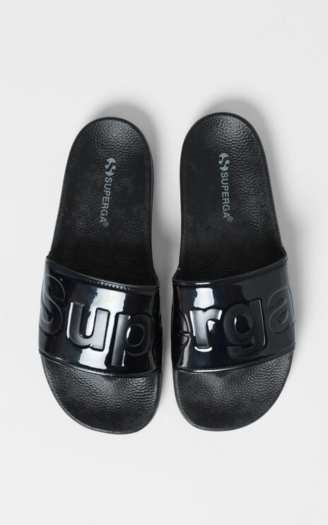 Superga - 1908 Puvarnish Slides in Black