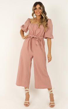 Going Sky High Jumpsuit In Blush