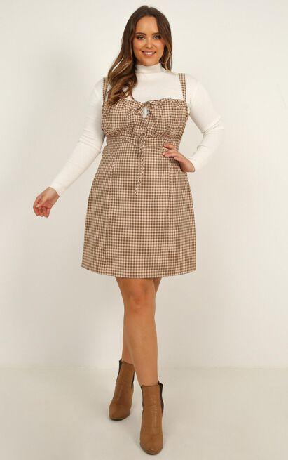 Core Ethics Dress in mocha plaid - 20 (XXXXL), Mocha, hi-res image number null