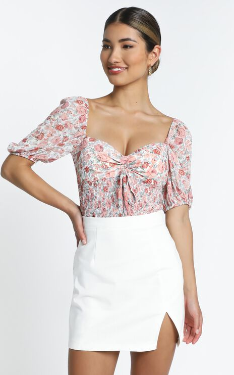 Loane Top in Rose Floral